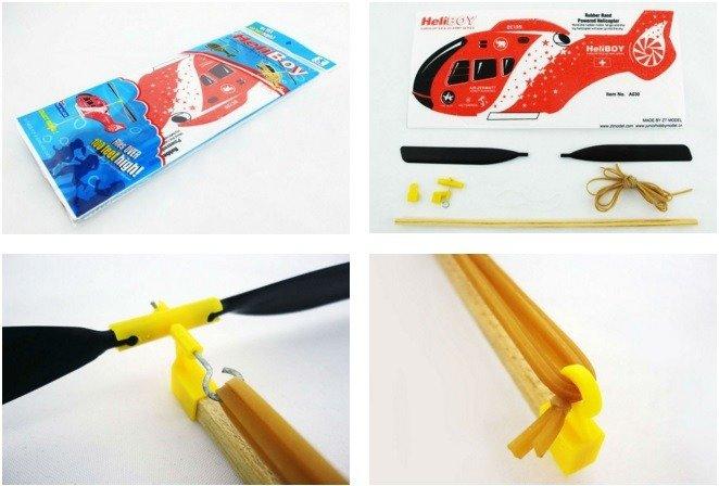 Model Helikoptera z napędem gumowym - latający śmigłowiec dla dzieci