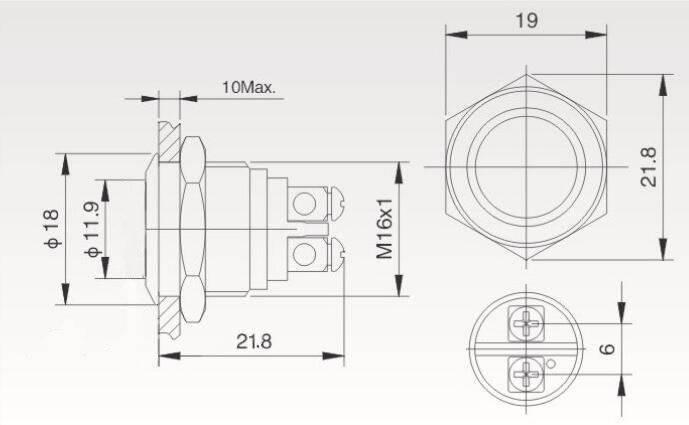 Przycisk wandalo-odporny PBW-16BKS