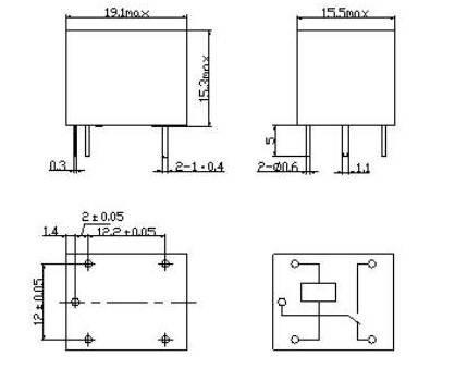 Model SRD-05VDC-SL-C (T73) Cewka Napięcie DC 5V pin 5PIN Nominalne obciążenie 10A 250VAC / 10A 125VAC 30VDC 10A / 10A 28VDC Formularz kontaktowy Common normalnie otwarty normalnie Zamknięty Rezystancja styków <= 100m (omów) Trwałość elektryczna 100000 Trwałość mechaniczna 10000000 Cewka 0.36W mocy, 0.45W Napięcie cewki pick-up <= 75% Napięcie drop-out Coil> = 10% Temperatura otoczenia -25 stopni Celsjusza do +70 stopni Celsjusza Cewką a stykami 1500VAC / min Kontakt i kontakt 1000VAC / min Rezystancja izolacji> = 100M Ohm Formularz montażu PCB wymiary 19mm x 15.5mm Outline x 15mm
