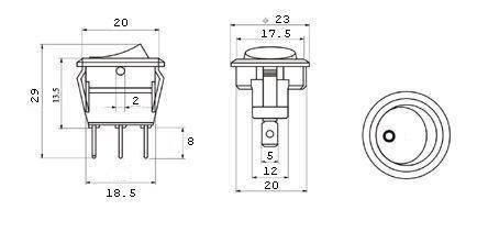 przełącznik klawiszowy z diodą LED