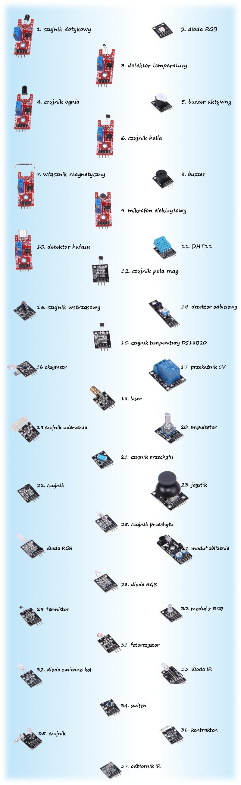 Zestaw 37 czujników modułów